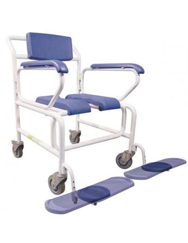 Chaise percée de douche à roulettes XXL papillon 61x56x55cm